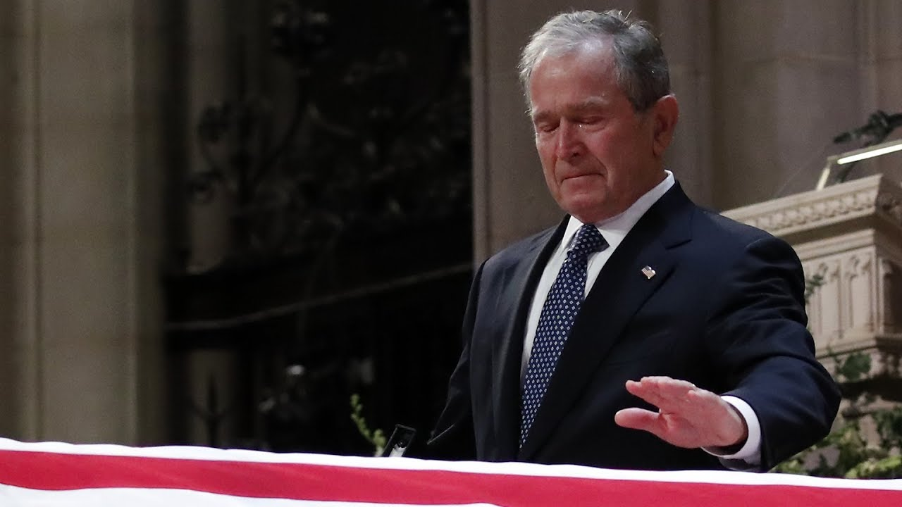 george w bush delivers emotional eulogy for his father george h w bush