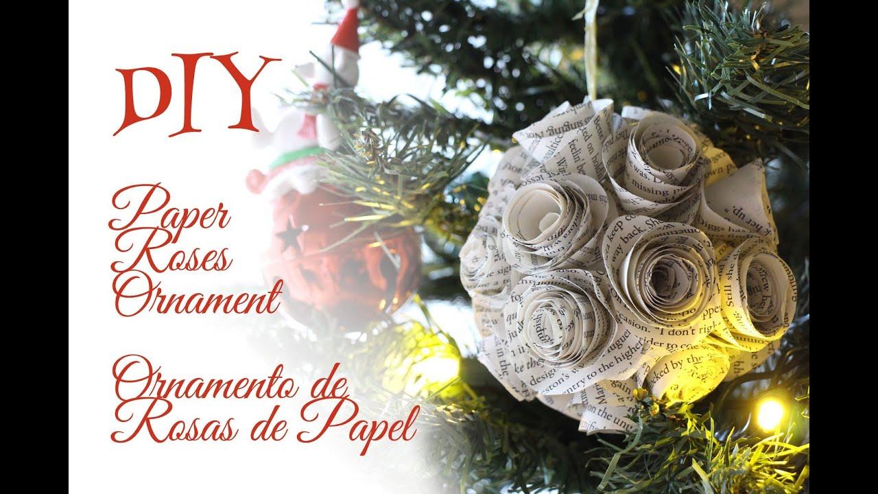Rose christmas ornament - Paper Rose Ornament Ornamento De Rosas De Papel Christmas Navidad