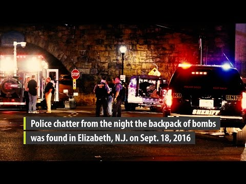 Police radio calls after bombs were discovered in Elizabeth, N.J.