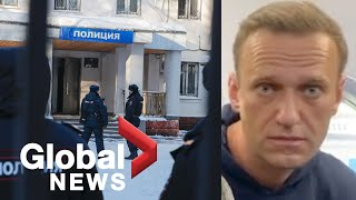 """Putin critic Navalny condemns """"lawlessness"""" of court hearing after his arrest in Russia"""