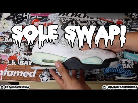 444aa1c3a3544 Sole Swap Series - Episode 6: 1999 Air Jordan White Cement 4 Sole Swap Time  Lapse!