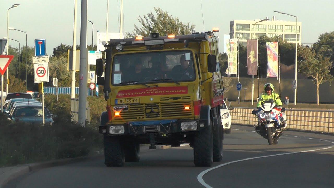 KNRM met sirene en strandpolitie TTK met spoed naar persoon te water in Scheveningen! #1144