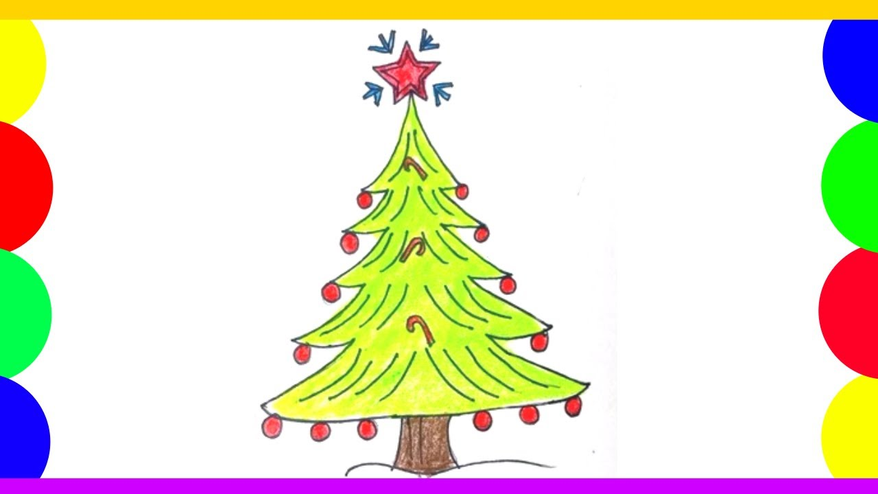 Very Easy, How To Draw Christmas Tree Quick, Easy And Beautiful Christmas Tree Drawing Art On ...