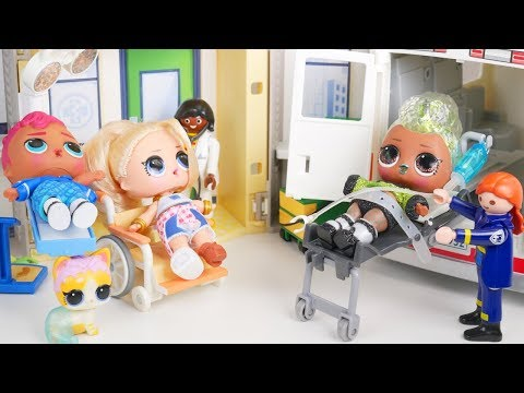 LOL Surprise New Unicorn At Hospital Playset with Barbie Ambulance Goldie