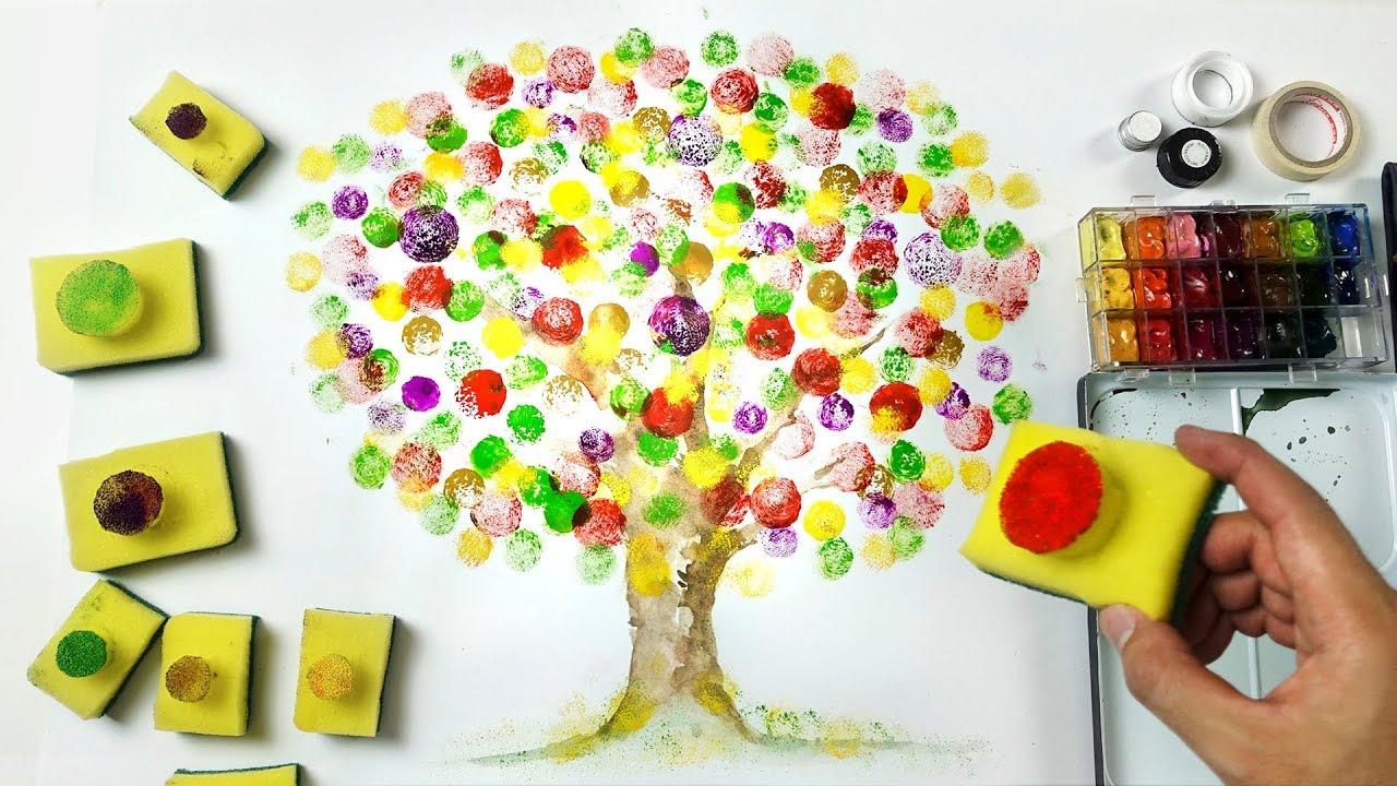 Dish Sponge Painting Technique | Easy Fun Art