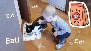 「よぉ、兄弟、お腹空いてない?」猫のプーシク、赤ちゃんにご飯をもらうの図