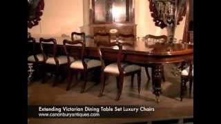 Extending Victorian Dining Table Set Luxury Chairs