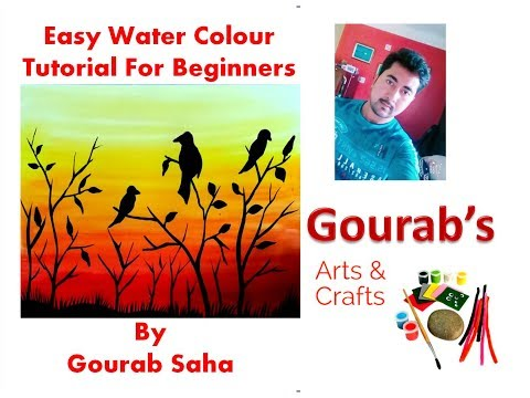 WATERCOLOR PAINTING Easy Tutorial landscape – HOW TO PAINT Sunset Sky, Tree, Birds|| Sunset || DIY