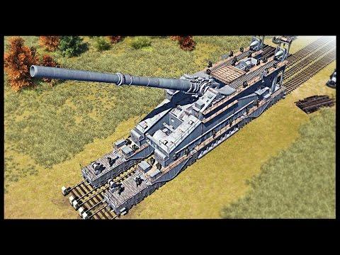 Biggest Gun Ever Made - 800mm Schwerer Gustav Railroad Gun | Men of War Assault Squad 2 Mod Gameplay