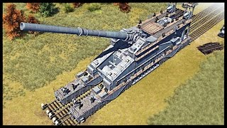 Biggest Gun Ever Made - 800mm Schwerer Gustav Railroad Gun | Men of War Assault Squad 2 Mod Gameplay