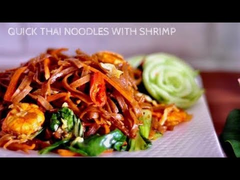 Easy Thai Noodles with Shrimp | recipe using organic red rice noodles