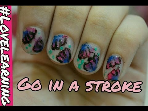 One Stroke Nail Art Technique Summer Nail Art Nitzlove Learning