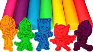 PJ Masks Play Doh Molds Learn Colors with Catboy Owlette Gekko Romeo Luna Girl & Night Ninja