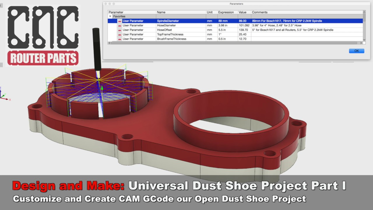 Customizing the Fusion 360 Dust Shoe Project for your Router