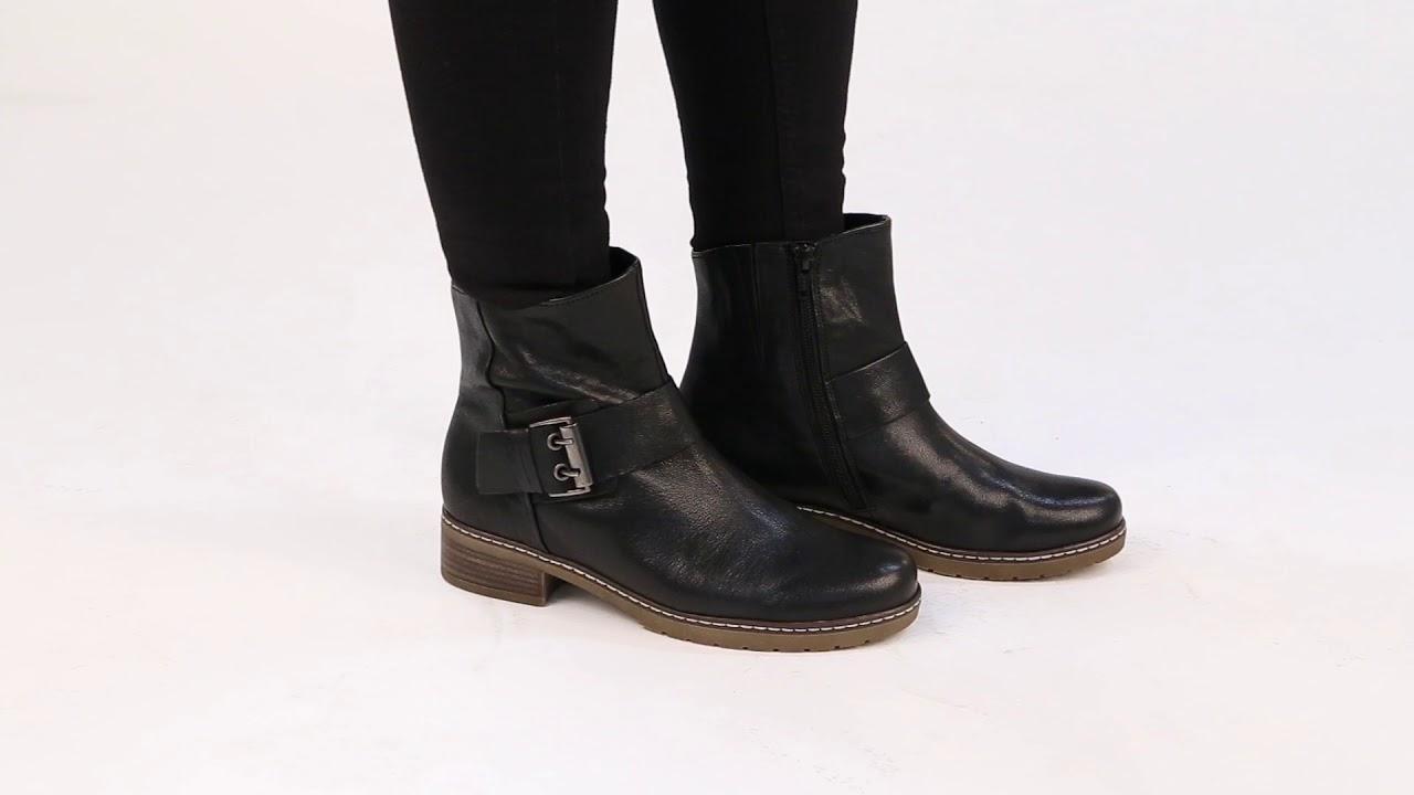 08197c9ea21 Gabor Dakota Black Leather Buckle Biker Ankle Boots