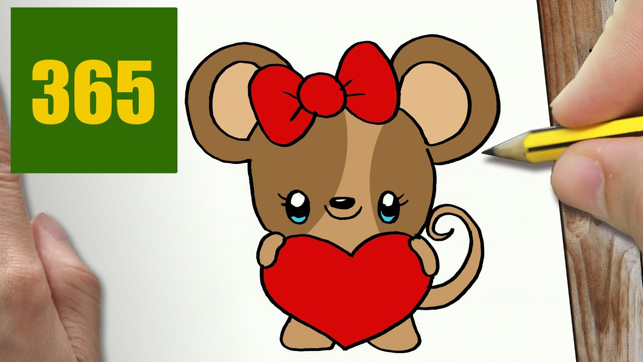 HOW TO DRAW A MOUSE IN LOVE CUTE, Easy step by step ...