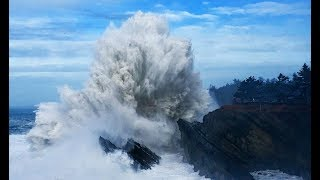 Huge Wave Explosions! Shore Acres Storm Watching Oregon Coast