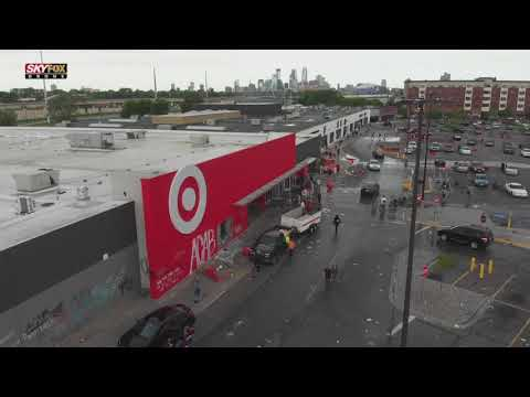 Drone video of widespread damage following fires, riots in Minneapolis