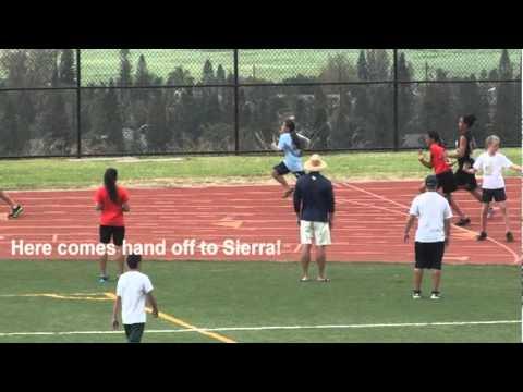 Blazing Fast 6th Grader in Girls 400 Meter Relay!!
