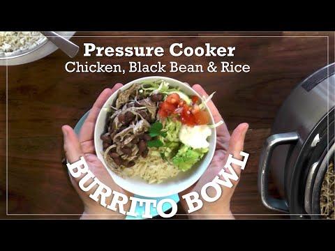 Pressure Cooker One Pot Chicken, Black Bean & Rice Burrito Bowl