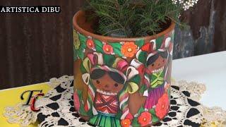 Macetas pintadas con pintura mexicana ( Marias de Amianto)