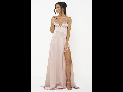 Honey Couture TANYA Pink Satin Formal Gown Dress