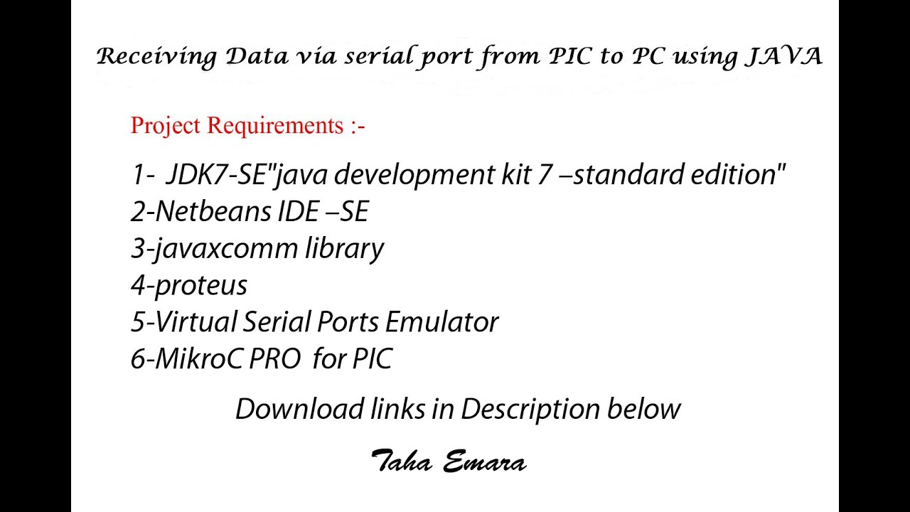 How to make a java program receives data from PIC or Arduino to PC via  Serial Port ?