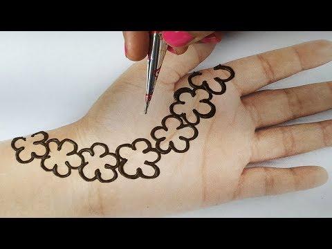 मेहँदी लगाना सीखे आसानी से - Stylish Floral Mehndi Design || Full Hand Shaded अरेबिक मेहँदी लगाएं