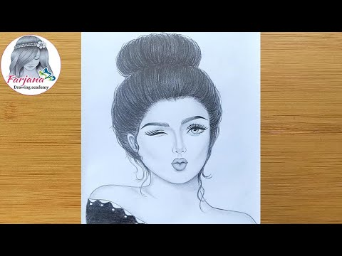 How to draw Cute Girl || Drawing Tutorial for beginners || Face Drawing || Pencil Sketch thumbnail