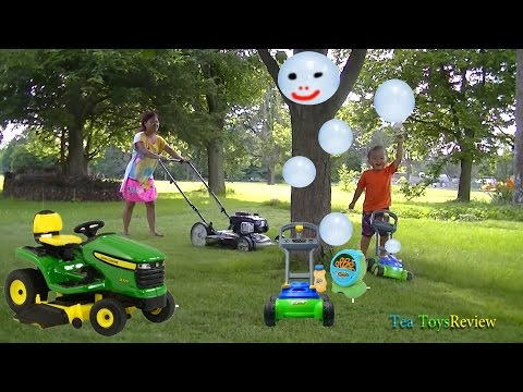 Lawn Mower Fun For Kid Play Using Jumping Beans® Bubble 'N Go Mower