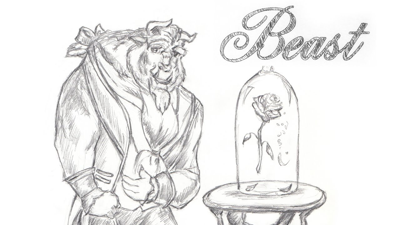 Disney's Beauty and the Beast Speed Drawing the Beast ...