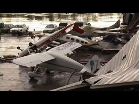 Raw: Severe Storm Wrecks North Carolina Airport