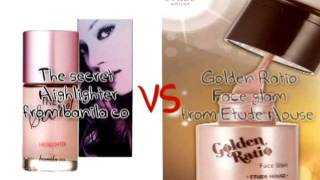 Review-Liquid Highlighter , Banila co's the secret VS Etude House's golden ratio face glam Thumbnail