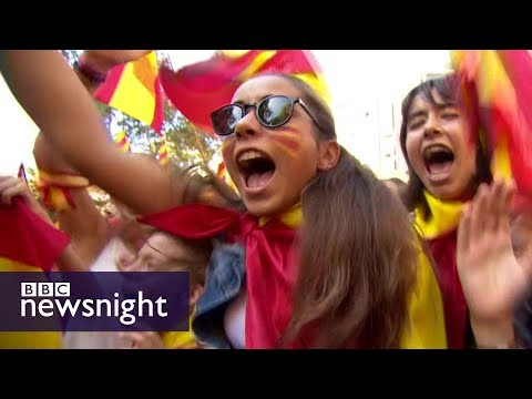 'Stand up if you're Spanish': The Catalans who back Madrid - BBC Newsnight