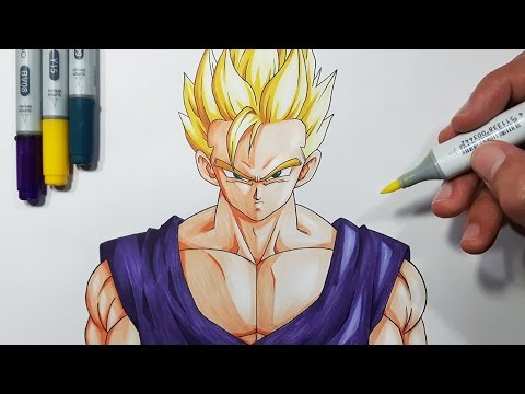 How To Draw Adult Gohan Super Saiyan Step By Step Tutorial