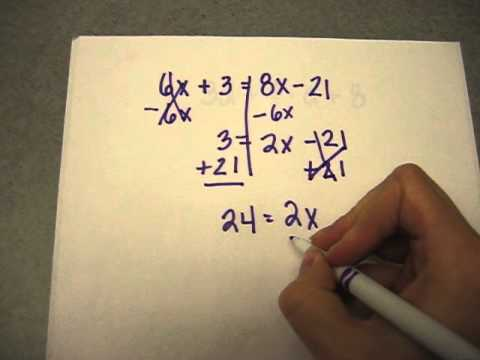 8th Grade - Solving a Math Equation with Variables on Both Sides