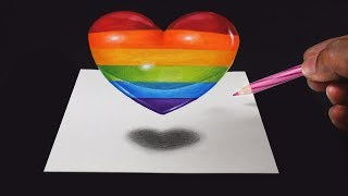HOW TO DRAW COLORFUL 3D HEART | TRICK ART DRAWING |