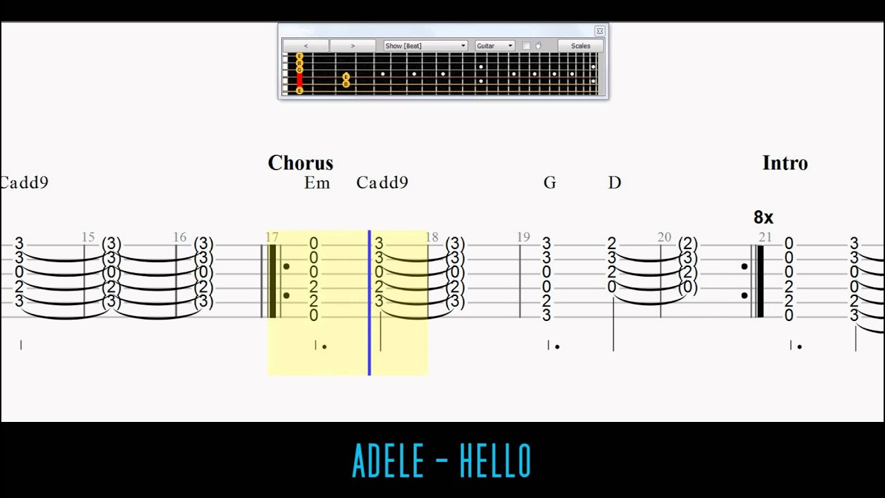 Adele - Hello EASY Guitar Tabs / Chords (with Capo) - YouTube