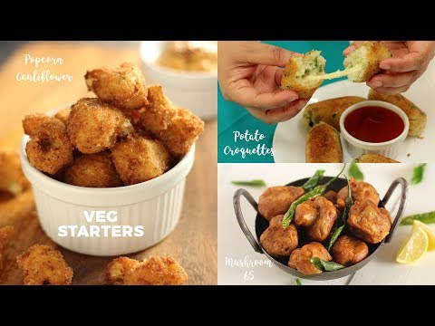 veg-starters-|-popcorn-cauliflower-|-potato-croquettes-|-mushroom-65