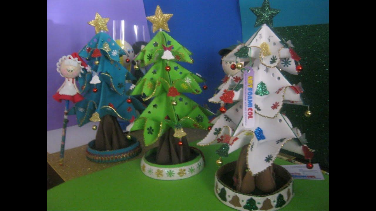 Arbol de pino navide o blanco bonsai foami goma eva - Adornos navidenos de goma eva ...