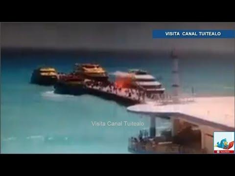 Así fue la explosión en ferry de Barcos Caribe en Playa del Carmen Video Hay 18 heridos