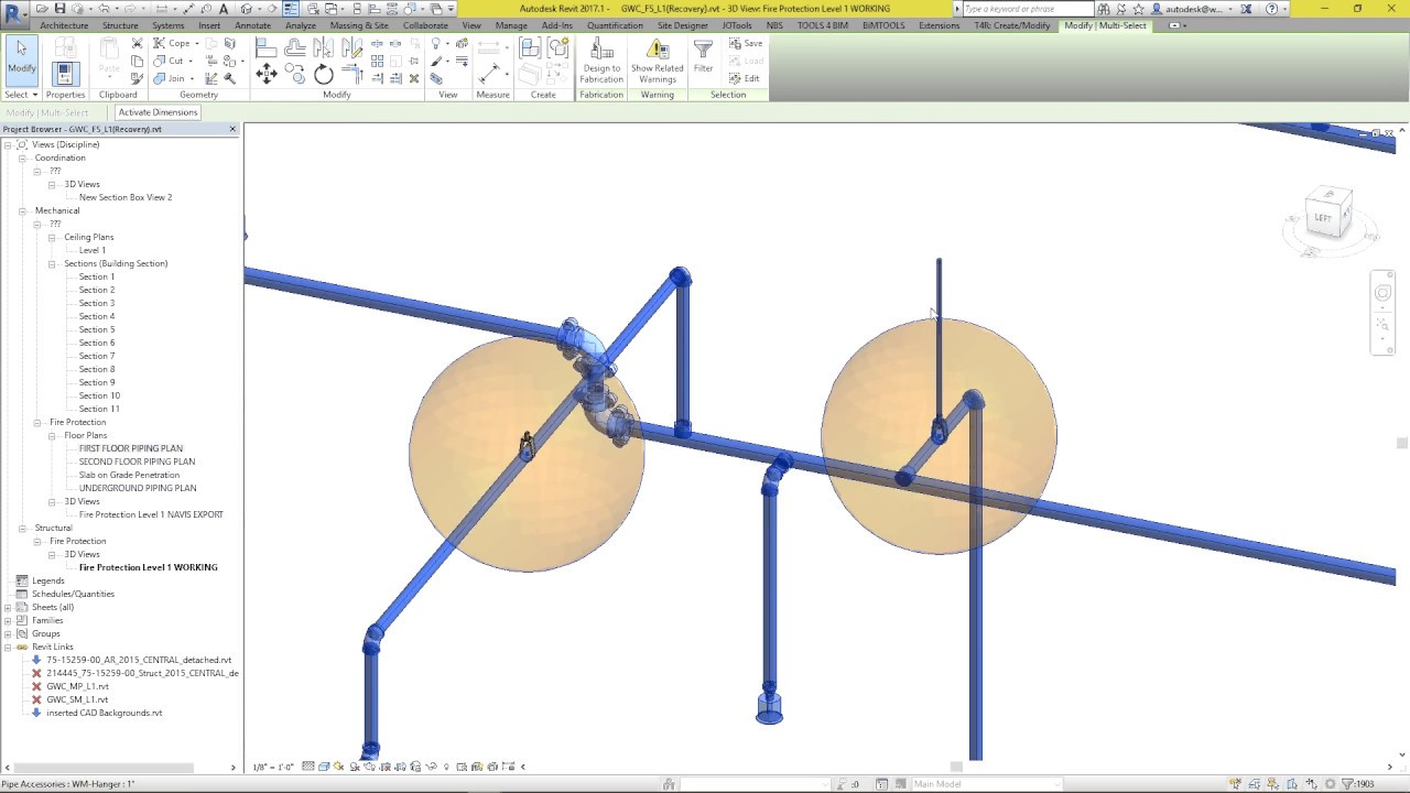 Pipe arm over Hanger For Fire Protection system using Revit and Dynamo