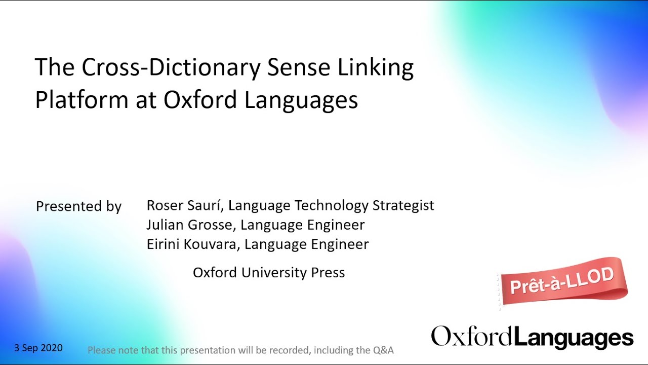 The Cross-Dictionary Sense Linking Platform at Oxford Languages