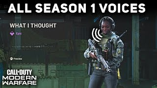 All Season 1 Operator Voices and Quips (SHOWCASE) - Call of Duty: Modern Warfare
