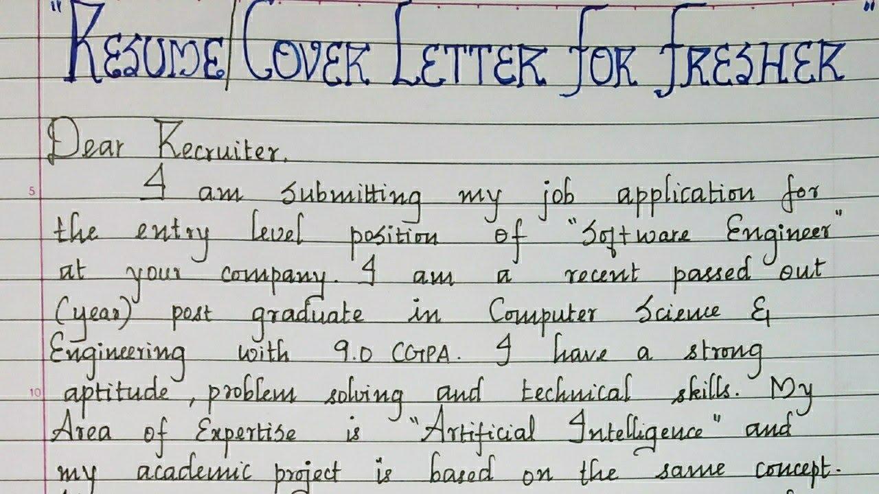 resume cover letter for fresher