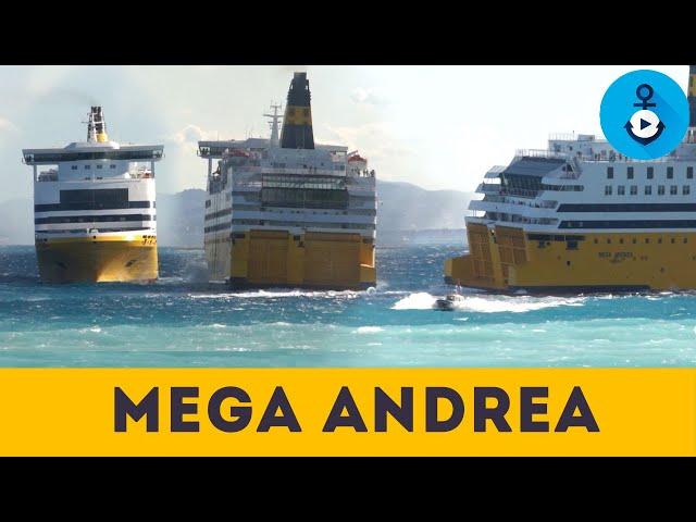 Mega Andrea, manovre spettacolari per imbarcare il pilota con tempesta di vento (Corsica Ferries)