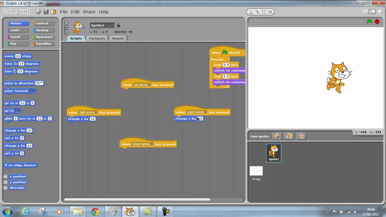Scratch Using arrow keys to move character - YouTube