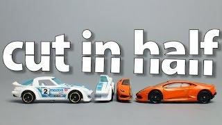 Die cast cars cut in half with waterjet