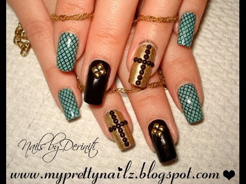 Edgy Elegant Easter Nails with Rhinestone Cross and BPS Studs Easy Nail Art  Tutorial - Edgy Elegant Easter Nails With Rhinestone Cross And BPS Studs Easy