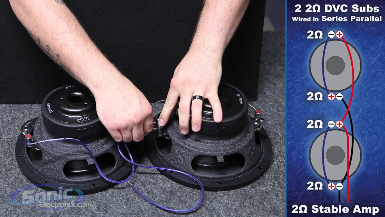 how to wire two dual 2 ohm subwoofers to a 2 ohm final impedance